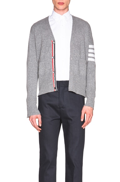 Thom Browne Classic Cashmere Cardigan in Light Grey