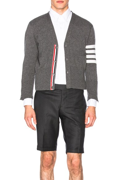 Thom Browne Classic Cashmere Cardigan in Medium Grey