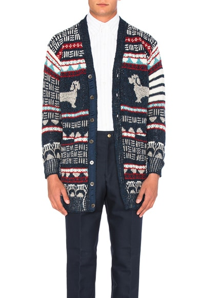 Thom Browne Hector Browne Fair Isle Jacquard Cardigan in Red, White & Blue