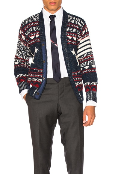 Thom Browne Hector Browne Fair Isle Cardigan in Red, White & Blue