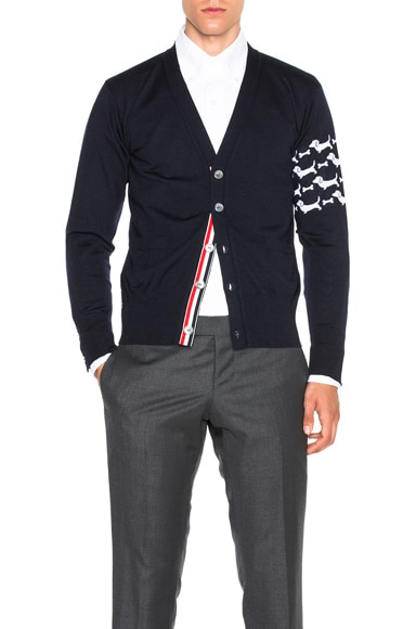 Thom Browne Hector Embroidery Cardigan in Navy