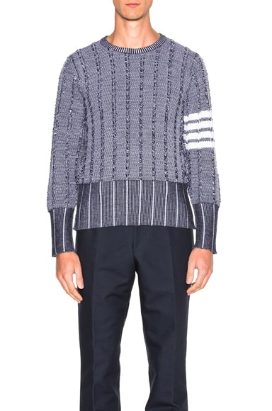Thom Browne Frayed Edge Waffle Pullover in Navy