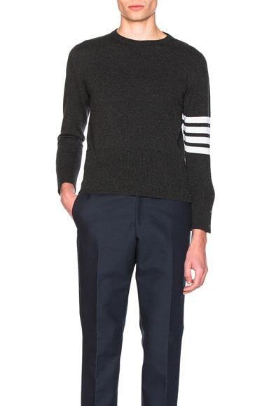 Thom Browne Classic Cashmere Crewneck Sweater in Dark Grey