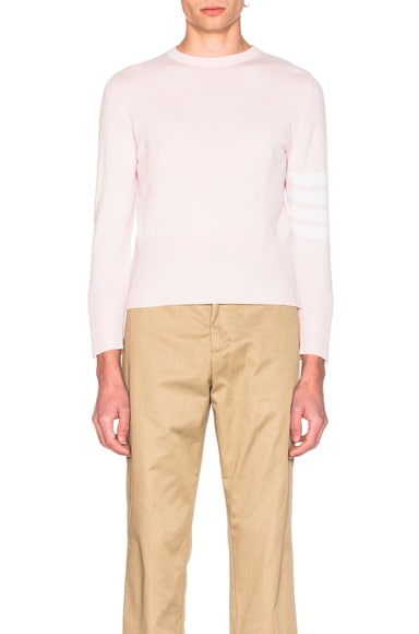 Thom Browne Classic Cashmere Crewneck Sweater in Light Pink