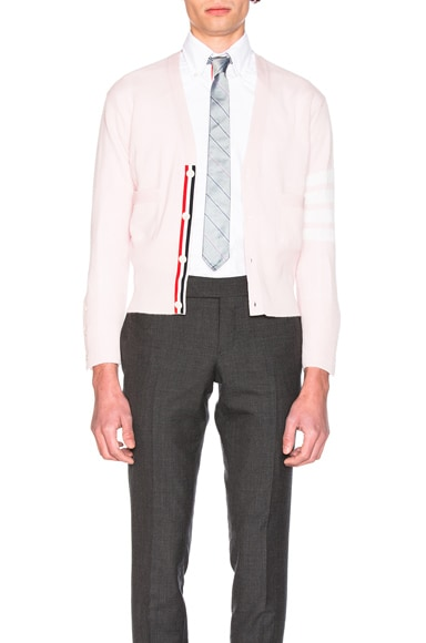 Thom Browne Classic Cashmere Cardigan in Light Pink