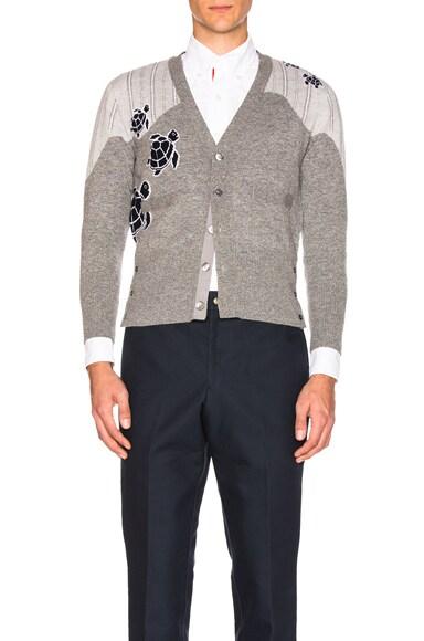 Thom Browne Sea Animal Cashmere Intarsia Cardigan in Medium Grey