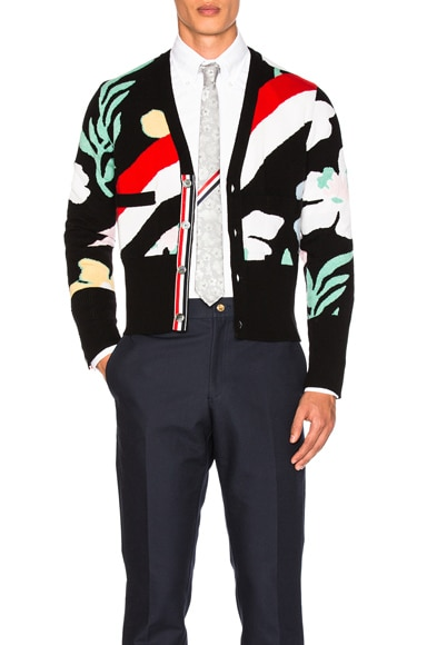 Thom Browne Floral Intarsia Cashmere Cardigan in Black