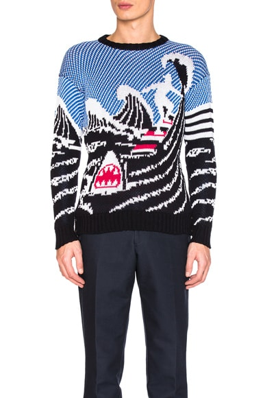 Thom Browne Surfing Scenery Pullover in Navy