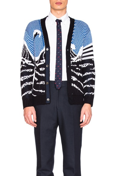 Thom Browne Surfing Scenery Cardigan in Navy