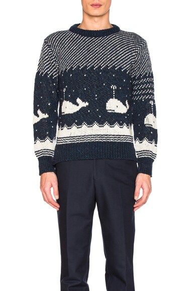Thom Browne Whale Icon Jacquard Pullover Sweater in Navy