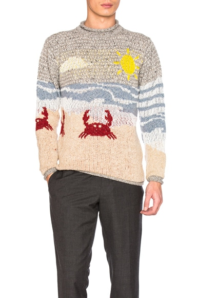 Thom Browne Beach Scene Icon Jacquard Pullover Sweater in Light Blue