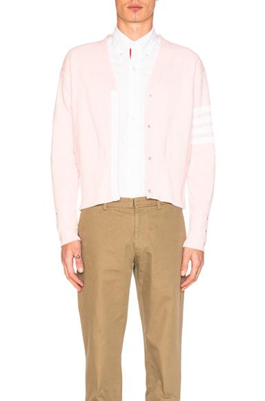 Thom Browne Trompe L'Oeil Cardigan in Pastel Pink