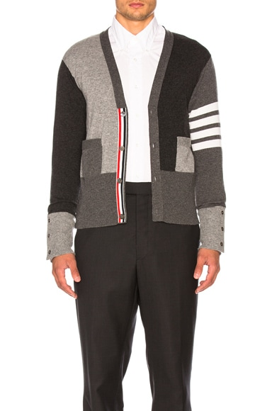 Color Blocked Bar Stripe V-Neck Cardigan