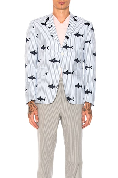 Thom Browne Seersucker Shark Embroidery Blazer in Blue