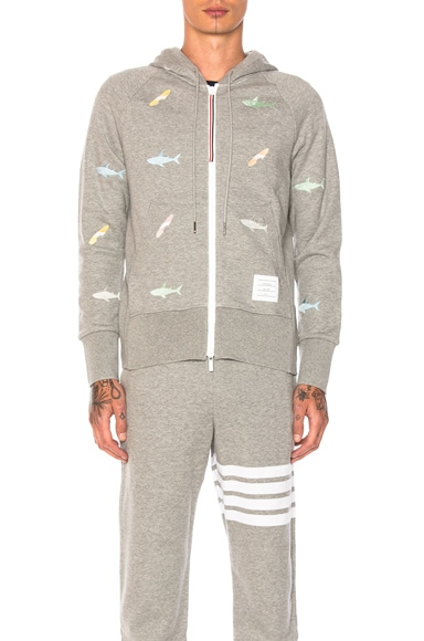 Thom Browne Shark & Surfboard Embroidery Zip Hoodie in Light Gray