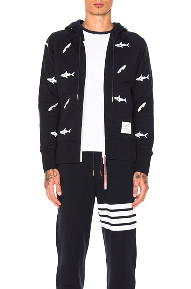 Thom Browne Shark & Surfboard Embroidery Zip Hoodie in Navy