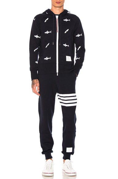 Shark & Surfboard Embroidery Zip Hoodie