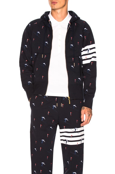 Quilted Loopback Zip Up Hoodie with Skier Embroidery