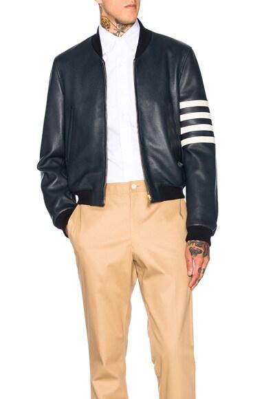 Thom Browne Fitted Deer Skin Varsity Jacket in Navy