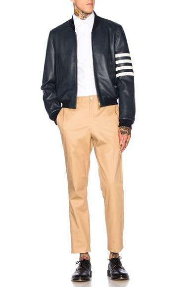 Fitted Deer Skin Varsity Jacket