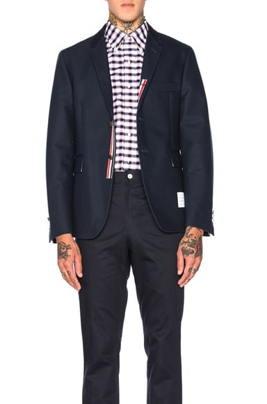 Thom Browne Double Woven Twill Classic Blazer in Navy