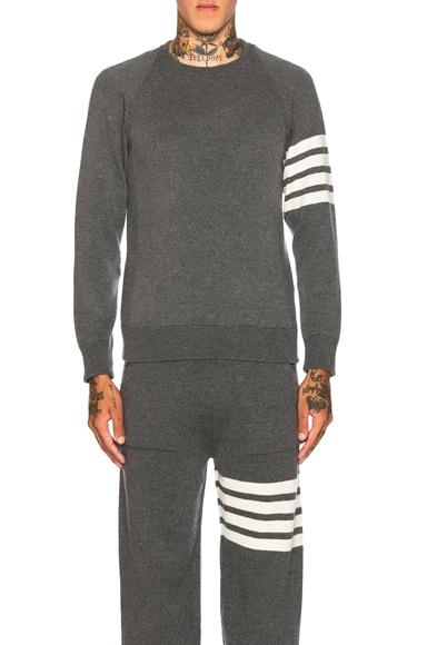 Thom Browne Cashmere 4 Bar Stripe Crewneck Sweatshirt in Medium Grey