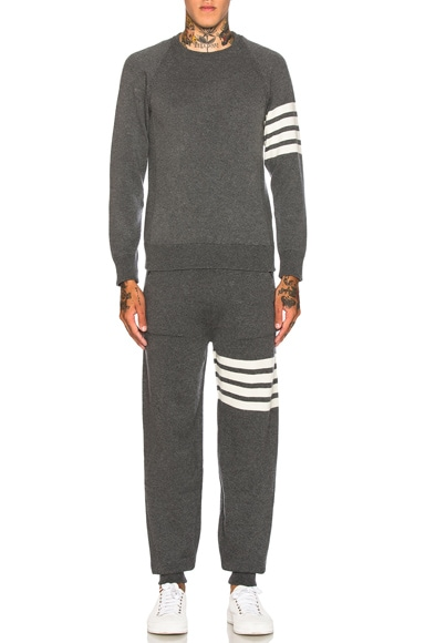 Cashmere 4 Bar Stripe Crewneck Sweatshirt