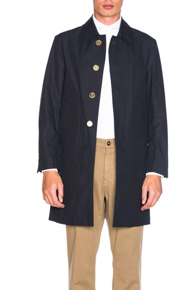 Thom Browne Classic Packable Waxed Cotton Jacket in Navy