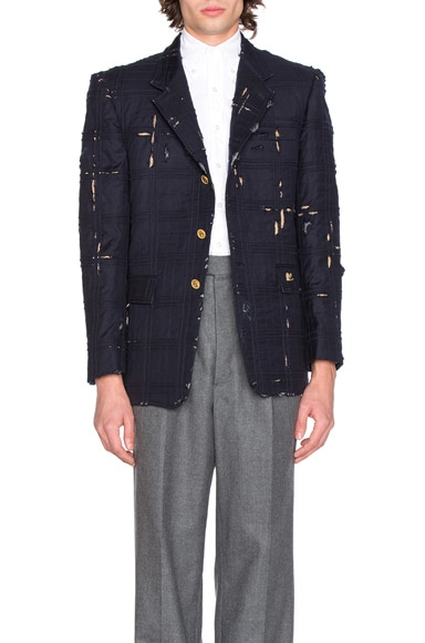 Thom Browne Tartan Check Embroidery Distressed Jacket in Navy