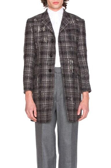 Thom Browne Distressed Tartan Tweed Coat in Medium Grey