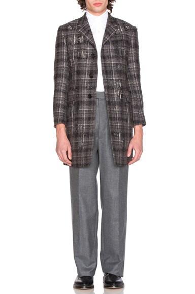Distressed Tartan Tweed Coat