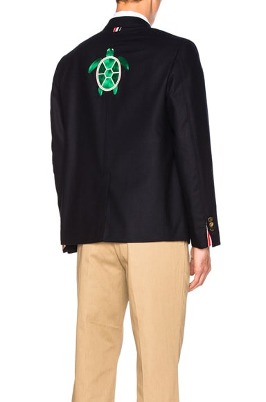 Thom Browne Turtle Icon Embroidery Lightweight Cashmere Blazer in Navy