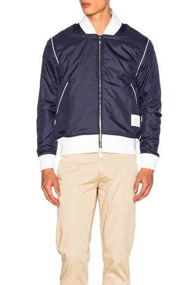Thom Browne Double Sided Bomber Jacket in Navy
