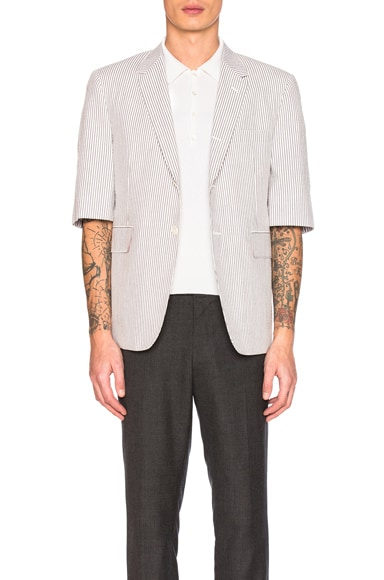 Short Sleeve Seersucker Blazer