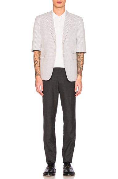 Short Sleeve Seersucker Blazer