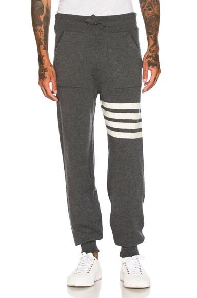 Thom Browne Cashmere 4 Bar Stripe Sweatpants in Medium Grey