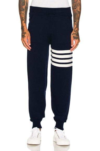 Thom Browne Cashmere 4 Bar Stripe Sweatpants in Navy