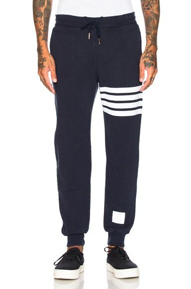 Thom Browne Distressed 4 Bar Stripe Sweatpants in Navy