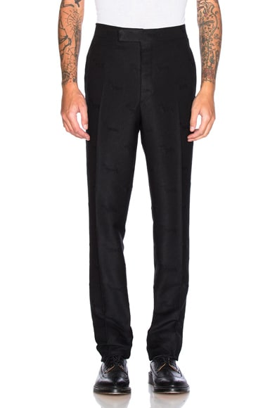 Thom Browne Hector Stamp Jacquard Trousers in Black