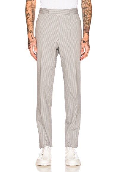 Thom Browne Classic Backstrap Trousers in Medium Gray
