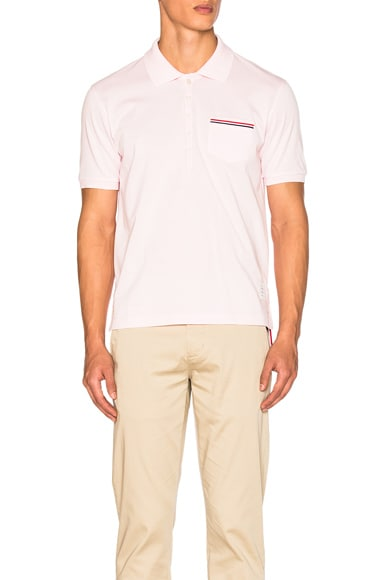Thom Browne Fine Mercerized Pique Polo in Light Pink
