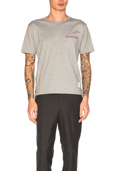 Thom Browne Jersey Cotton Short Sleeve Pocket Tee in Light Grey
