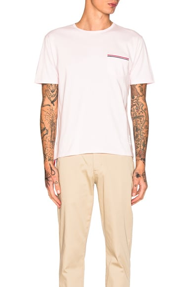 Thom Browne Jersey Cotton Short Sleeve Pocket Tee in Light Pink