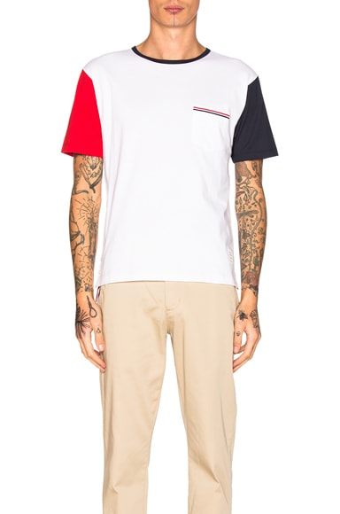 Thom Browne Fun Mix Jersey Cotton Short Sleeve Tee in Blue, Red & White