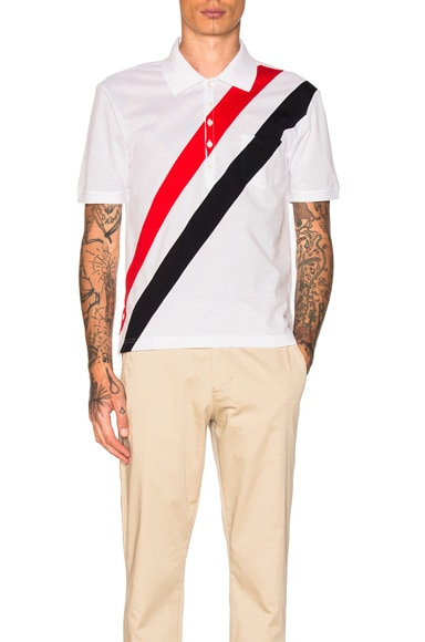Thom Browne Diagonal Stripes Polo in Red, White & Blue