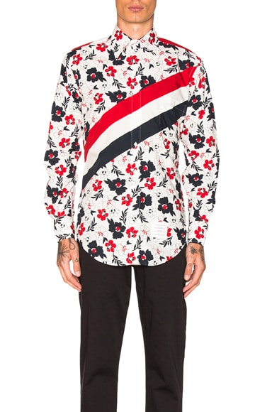 Thom Browne Floral Print Diagonal Stripe Shirt in Red, White & Blue