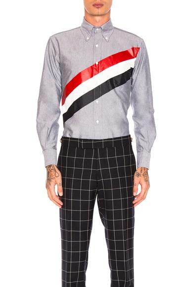 Thom Browne Printed Diagonal Stripe Oxford Shirt in Navy