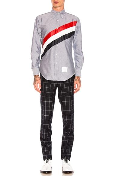 Printed Diagonal Stripe Oxford Shirt