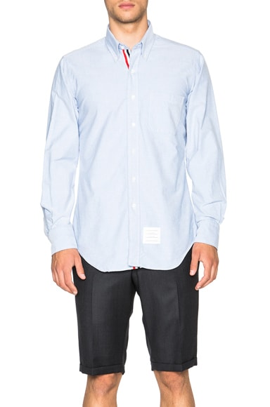 Thom Browne Classic Cotton Button Down with Ribbon Placket in Light Blue