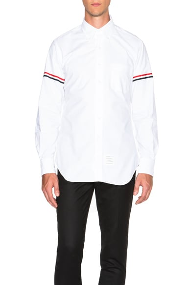 Thom Browne Classic Button Down with Grosgrain Armbands in Optic White